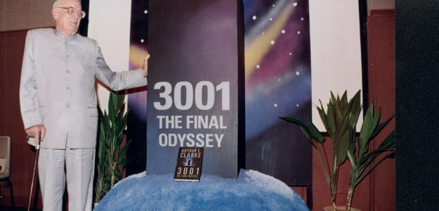 Arthur C Clarke at the launch of his 1997 novel, 3001 The Final Odyssey at British Council, Colombo