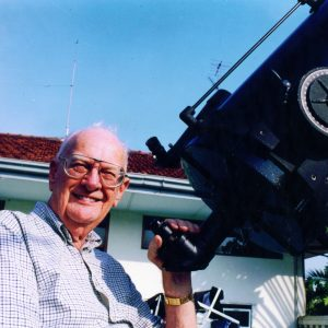 Sir Arthur Clarke with his Celestron 14-inch telescope - photo by Rohan de Silva