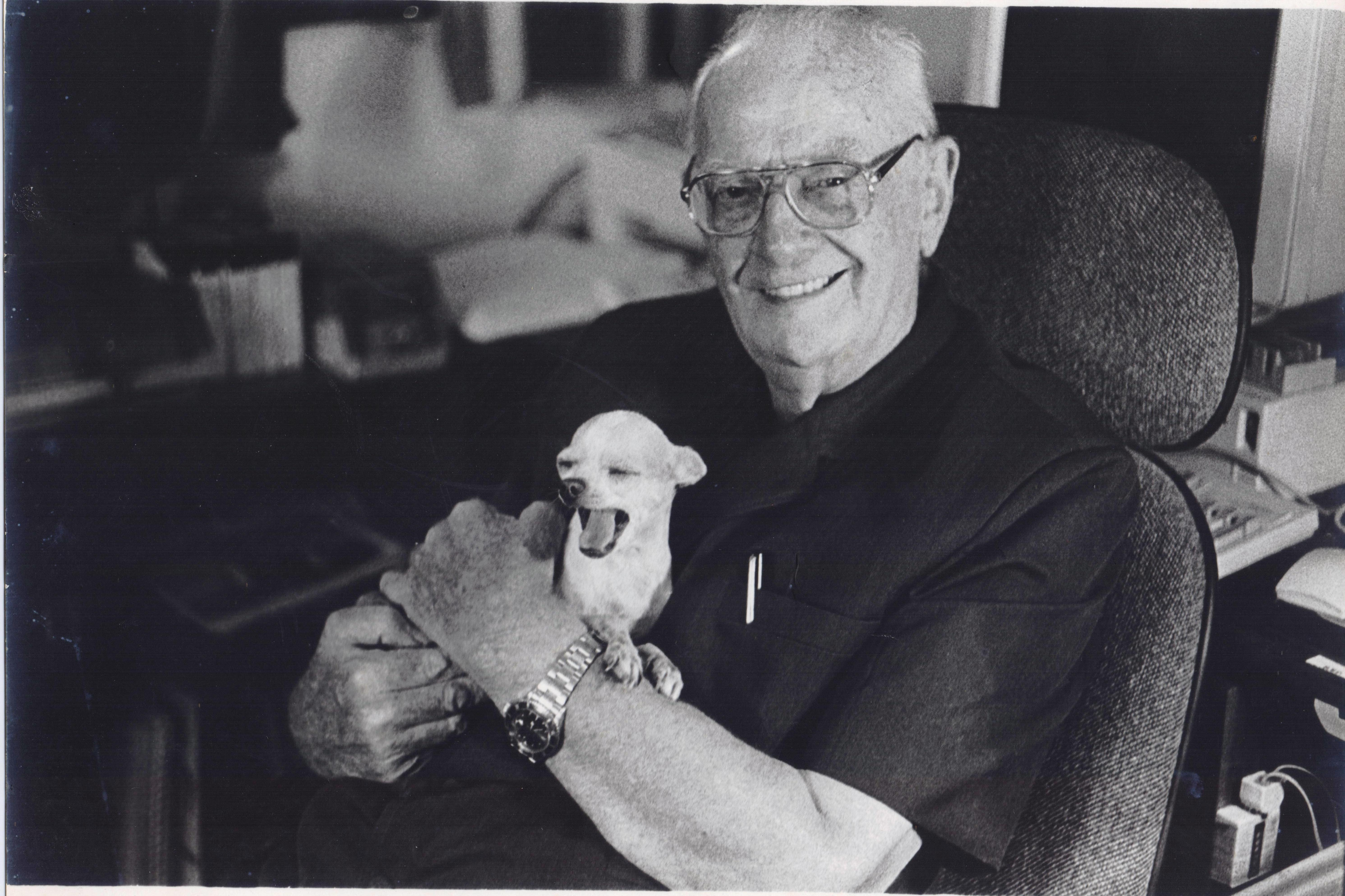 Arthur C Clarke with his beloved Chihuahua Pepsi, circa 2001